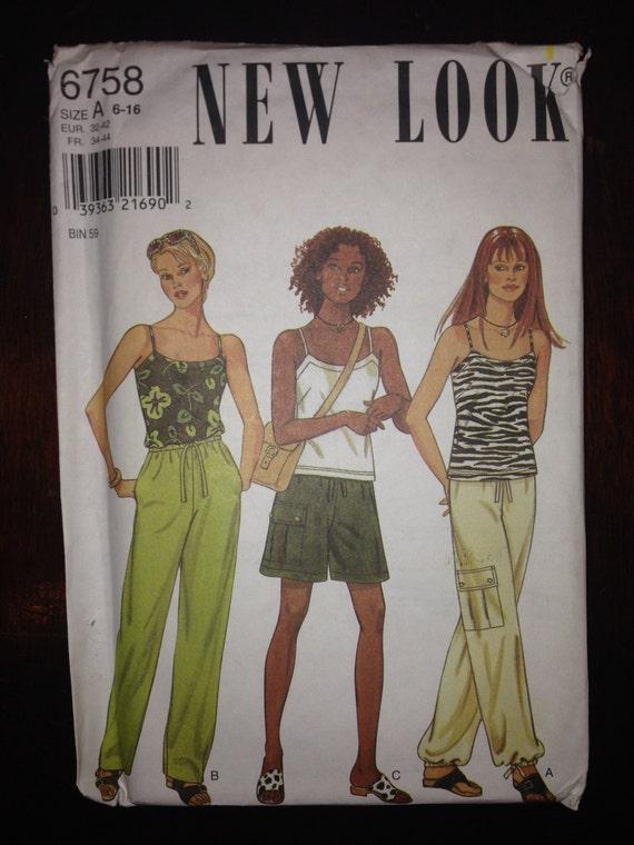 Simplicity New Look 6758 Sewing Pattern 90s Uncut Misses Tops, Pants and Shorts Size 6-16