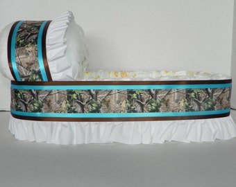BIG Turquoise Camo camouflage diaper bassinet baby shower gift basket or centerpiece