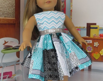 Patchwork dress for all 18 inch dolls, like the American Girl doll