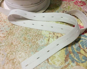 """Buttonhole Elastic,  3/4"""" inch White Adjustable Buttonhole Elastic for Children's and Maternity Wear Sewing Elastic"""