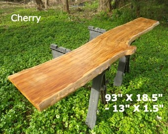 Live Edge Bar Top, Finished Cherry Wood Slab, Natural Edge Buffet Table, Work Station, Desk Top, Kitchen Table, Live Edge Counter Top,  7015