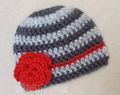 Newborn Girl Hat with Flower, Photo Prop Hat, Baby Girl Hat, Crochet Baby Hat, Red and Gray