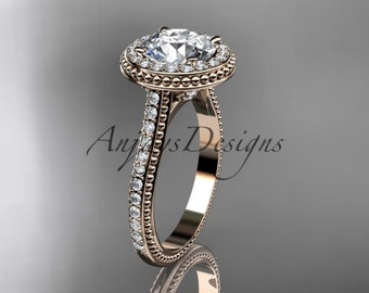 """14kt rose gold diamond unique engagement ring, wedding ring with a """"Forever One"""" Moissanite center stone ADER97"""