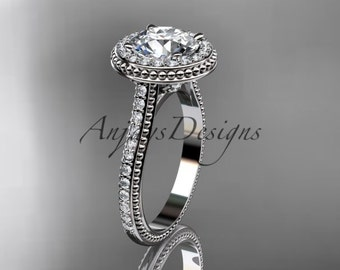"""14kt white gold diamond unique engagement ring, wedding ring with a """"Forever One"""" Moissanite center stone ADER97"""