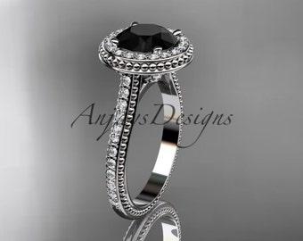 platinum diamond unique engagement ring, wedding ring with a Black Diamond center stone ADER97