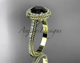 14kt yellow gold diamond unique engagement ring, wedding ring with a Black Diamond center stone ADER97