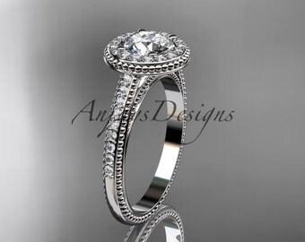 14kt white gold diamond unique engagement ring, wedding ring ADER104