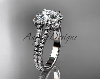 14kt white gold diamond unique engagement ring, wedding ring ADER107