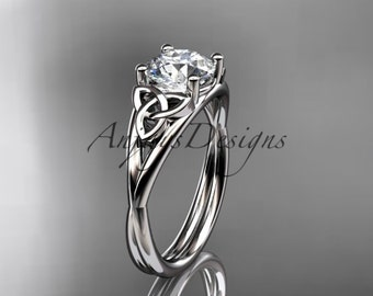 14kt white gold celtic trinity knot wedding ring, engagement ring CT7189