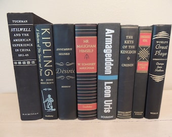 VINTAGE BLACK BOOKS Eight (8) Photo Props Instant Collection Wedding Decor Instant Library Decorative Book Stack Book Bundle Mid Century