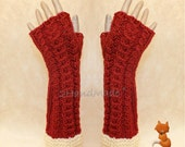 Fox Fingerless Gloves Chunky Knitting Cable Hand Warmers Christmas Xmas Soft Sheep Merino wool Terracota of White