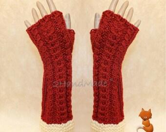 Fox Fingerless Gloves Chunky Knitting Cable Hand Warmers Christmas Xmas Soft Sheep Merino wool Terracota of White