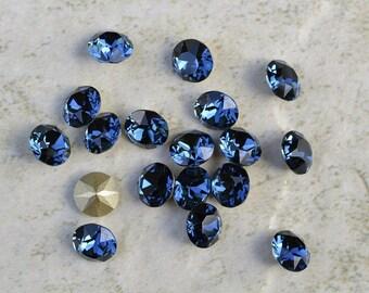 18 Montana 34ss Swarovski Xirius Round Rhinestones-Loose Rhinestones-Loose Crystals-Wholesale Rhinestones