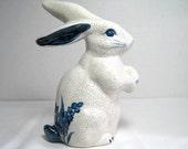 White Crackle Blue Design Clay Rabbit Bunny