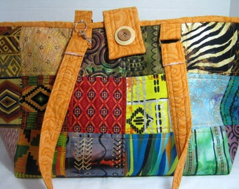 African Tribal Patchwork Yarn Organizer Knitting Crochet Tote with Pockets, Project Craft Library Book Bag, Quilted Market Bag