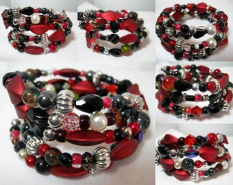 Red Black Sparkly Beads Memory Wire Wrap Bracelet, 4 Coil Stackable Jewelry