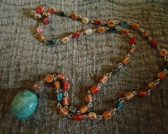 Boho Gypsy Inspired Large Turquoise Nugget Necklace on Multicolored Chain