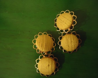 Vintage 1960s  Boho Yellow Sunflower Dangle Drop Earrings