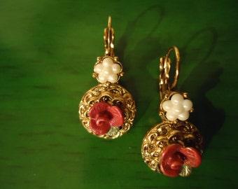 Vintage Pink Roses In Whimsy Earrings