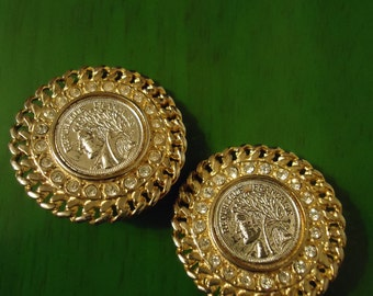 Vintage 1980s Gold Caesar Coin Clip on Earrings