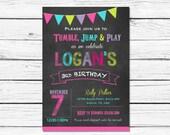 Gymnastics Birthday Invitation, Gymnastics Party, Girl, Gymnastics Birthday, Chalboard, Pink // Purple // Lime Green // Invite // 056