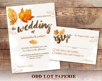 Fall Wedding Invitation Set Fall Leaves Wedding Invite and RSVP Country Wedding DIY Printable Fall Wedding Invitation Set Digital Printable