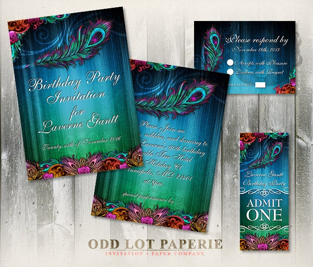 Peacock Birthday Party Invitation Suite Party Printables
