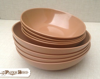 Melmac Spring Brown Bowls 2 Sizes Cereal Bowls Snack Bowls Mid Century Modern