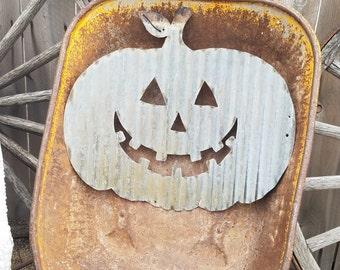 FREE SHIPPING Vintage Style Corrugated Jackolantern Pumpkin Metal Sign