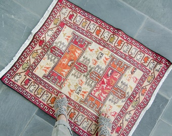 Vintage Silk & Wool Turkish Small Rug Childrens Room Bathroom Noah's Ark Soumak Rug - FREE DOMESTIC SHIPPING