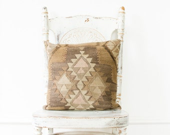 Vintage Handwoven Wool Kilim Pillowcase - Mid Century