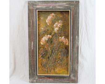 Bob Pepper Listed Artist Oil Painting 12x24 Mid Century Impressionist Floral Mums California