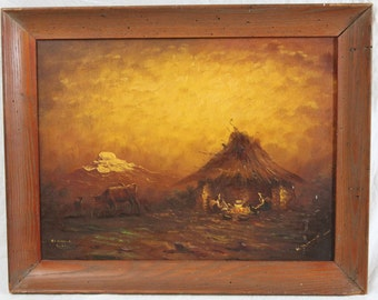 Hector Moncayo Listed Artist Ecuadorean Oil Painting 17x22 Farmers at Night El Cayambe
