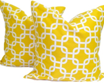 YELLOW PILLOWS.SET Of Two.18x18, 16x16 or 20x20 inch.Pillow Covers. Decorative Pillows.Throw Pillow Covers.Housewares.Yellow Cushion Covers