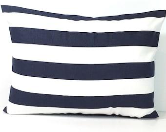 BLUE Pillow Sale.12x18 inch Decorative Lumbar Pillow Cover.Navy Stripe Pillow.Blue Lumbar Pillow.Blue Cushion Cover.Striped Pillow.Stripes