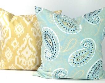 BLUE Yellow PILLOW SET.16x16 Inch Pillow Covers.Cm.Cushion.Decor.Blue Paisley Pillows.Pillow Set.Blue Cushions.House Decor.Dots.Floral.cm
