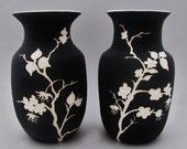 Cherry Blossom Vase Set: Black and White Carved Ceramic Vases, Floral Design,Asian-inspired Functional Art Pottery