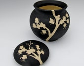 Cherry Blossom Sugar Bowl: Black and White Carved Ceramic Lidded Jar, Floral Design,Asian-inspired Functional Art Pottery
