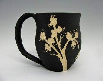 Cherry Blossom Mug: Black and White Painted and Carved Ceramic Mugs, Floral Design, Heirloom-Quality Functional Art Pottery