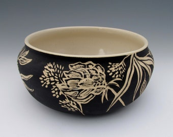 Botanical Floral Ceramic Serving Bowl or Planter; Black and White Heirloom-Quality Art Pottery