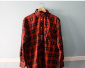 ON SALE Men's NOS Vintage Red, Black, and White Plaid Shirt by Palermo/ Size Large 17/34