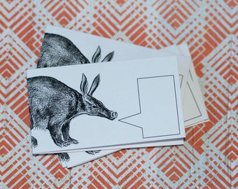 ALLITERATIVE AARDVARK ... Set of 5 Mini Notecards with Envelopes . Captioned Critters . Quirky . Wild Animals . Gift Cards . Folded Notes