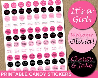 Personalized Baby Shower Favors - Printable Candy Stickers, Baby Shower Ideas for Girls, Pink Black Baby Shower Candy Stickers, Party Favors