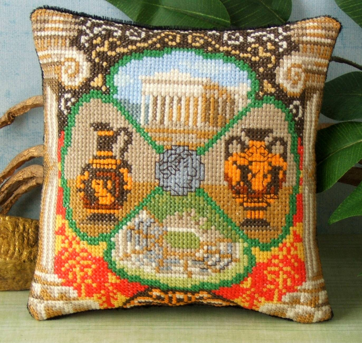Modern Cross Stitch Pillow Kits : Ancient Greece Mini Cushion Cross Stitch Kit from SheenaRogersDesigns on Etsy Studio