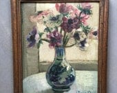 Réserved for Annie An anemone bouquet oil painting. French