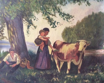 SALE French Cow landscape country Oil Painting, vintage folk art