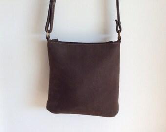 Deep brown nubuck leather Charles et Charlus FRANCE crossbody bag, vintage