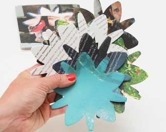 50 large flowers die cuts made from beautiful rescued paper