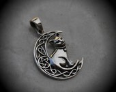 Genuine Solid Sterling Silver Celtic Cat Pendant