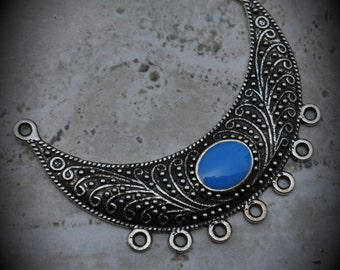 Silver Plated Pendant With Sky Blue Enamel